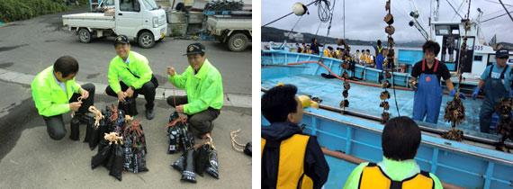 2日間で60kgの砂利袋を1,000個を完成させ漁師の皆さんには大変喜んでいただきました